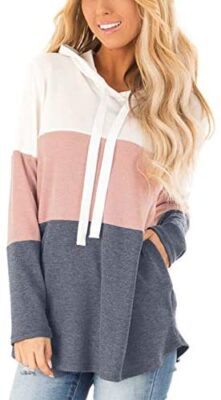 Blooming Jelly Femme Sweat à Capuche Rayé Sweat-Shirt Pull Patchwork Casual Hoodie Manche Longue Haut