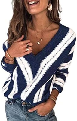 Minetom Pull Femme Automne Hiver Élégant Col V Col Rond Manches Longues Sweater Patchwork Blouse Chic Chaud Tricot Hauts Tunique Pullover Ample Sweater