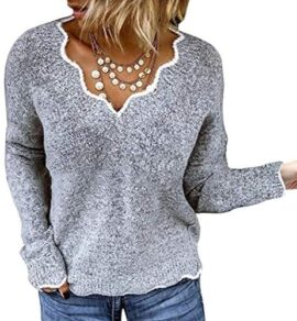 Minetom Pull Femme Tricoté Col V Casual Manches Longues Hiver Chaud Pullover Sweater Top Blouse