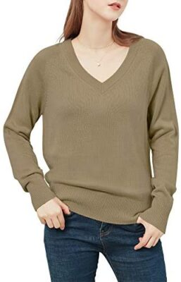 Woolicity Pull Femmes Col V Tricot Pullover Couleur Unie Manches Longues Léger Pull Loose Fit Soft Jumper
